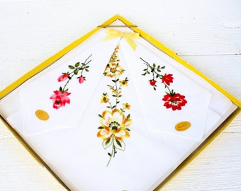 Vintage Swiss Floral Embroidered Handkerchiefs- Set of Three