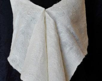 Handmade Cobweb Felted Stole Wool Felt scarf OOAK Felt Gift