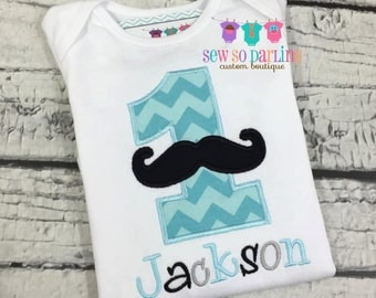 Baby Boy Mustache 1st Birthday outfit - Baby Boy Birthday Mustache Shirt - 1st Birthday Little Man Birthday Outfit - 1st Birthday Outfit