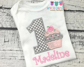 1st Birthday Girl Pink and Gray Outfit - Baby Girl Cupcake Birthday Outfit - Cupcake Birthday Shirt- 1st Birthday Outfit