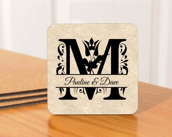 Personalized Monogramed Coasters/Wedding Coasters - set of 4
