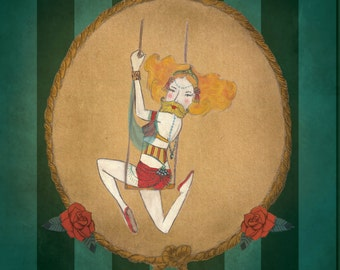 bearded trapeze artist illustration oz maud
