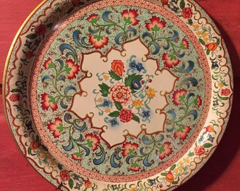 Vintage Small Metal Daher Tray Wall Hanging Floral Design Made in Holland Excellent Condition