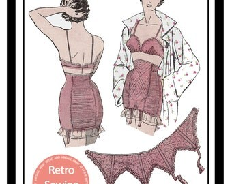 1950's Bra, Suspender and Girdle French Sewing Pattern  -  Full Size PDF Lingerie Pattern - PDF  Instant Download