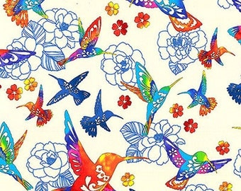 Colorful Hummingbirds: White 'Flight of Colors' Asian Japanese Kona Bay Fabric (Per 1/2 Yd)