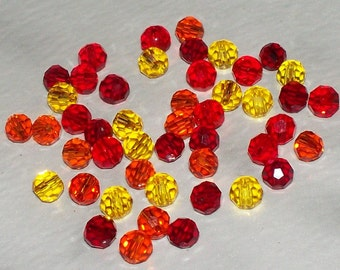 Faceted Clear Fall Mix Glass Rounds - 4MM