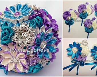 Wedding Accessories: boutonnieres, purple, turquoise, ivory
