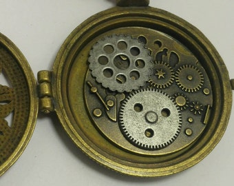 Steampunk  Locket Necklace with Gears inside