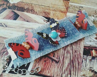 Boho chic bracelet with red butterflies and turquoise bead