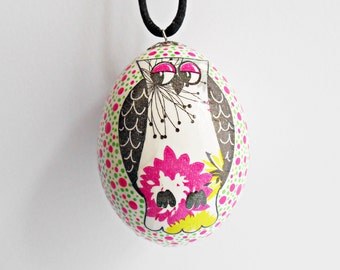 FREE SHIPPING, Handmade egg, Chicken egg shell, Easter home decorations, Easter decor, Owl, Pysanka, Pysanky, Pink, Green, Black, White