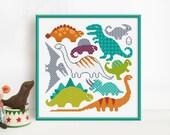 Dinosaurs - Cross Stitch Pattern (Digital Format - PDF)