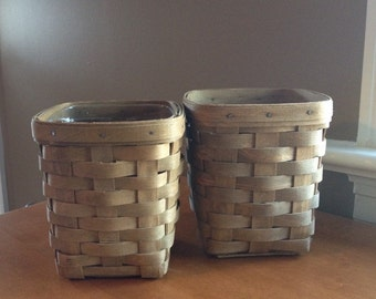 Pair of small Longaberger square baskets