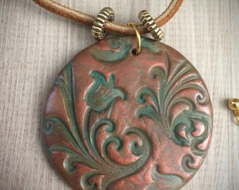 Polymer Clay Jewelry, Hand stamped Polymer Clay Pendant, Polymer Clay Necklace, OOAK, Patina & Copper Pendant, Handmade Gift, Pendant