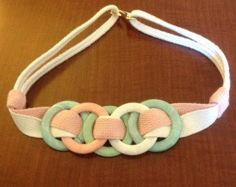 White Light Green And Pink Vintage Belt