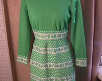 Vintage 1960s Green and White Print Dress,  Polyester, S 14, Label: Jan Justin, Don Sophisticates 1078