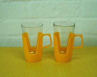 Pair of vintage Arcoroc camping picnic mugs