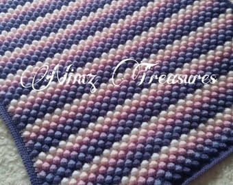 Baby bobble blanket,  popcorn, raspberry ripple purple, lilac, white, peach pink