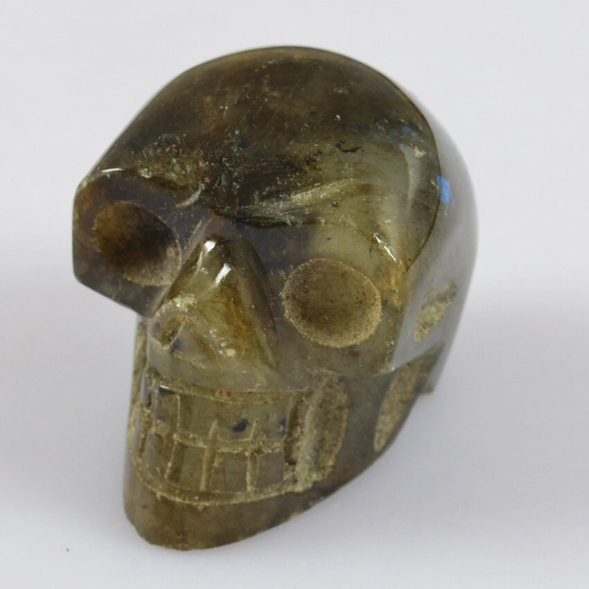 Ooakhand carved labradorite skull mm gemstone