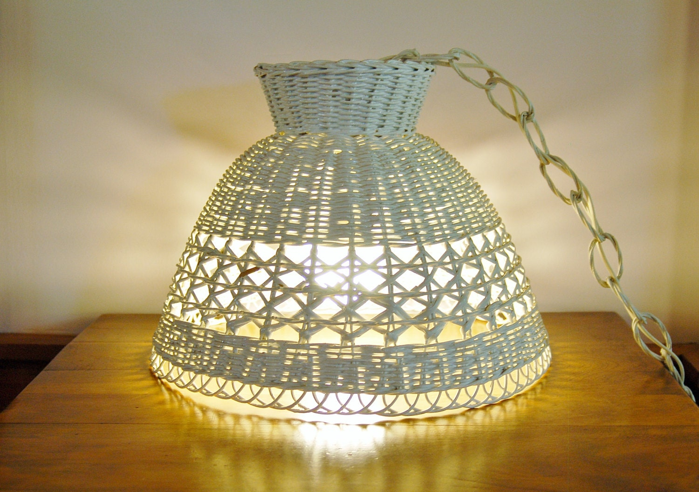 White Wicker Hanging Pendant Lamp Mid Century Boho Rattan