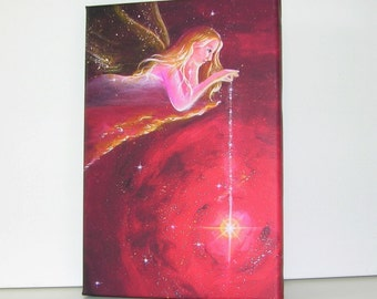"""Canvas art angel stretched on wooden frame: """"Shines for you"""" , contemporary painting, red artwork, guardian angel"""