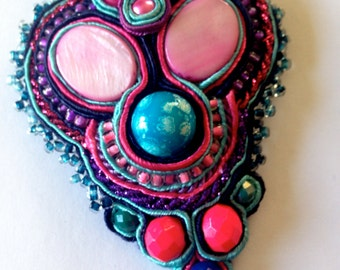 Soutache Pendant Necklace Handmade Upcycled