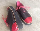 Womens Shoes - Flat Shoes - Leather Shoes - Womens Sneakers - Comfortable shoes - red Flats - black Shoes