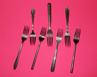 Lot of 7 Stainless Steel Dinner Forks - Craft Supplies