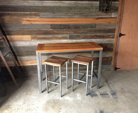 Like this item? - Reclaimed Wood Pub Table With Industrial Metal Base