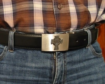 Celtic Cross Motif On Buckle With Black Leather Belt Celtic themed Gift Mother Father Christmas Gift