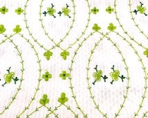 Embroidered Shamrock Fabric, Green Clover Seersucker Material, Green and White Plisse Irish Fabric, St. Patrick's Day Fabric