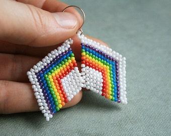 rainbow earrings, native earrings, seed bead earrings beaded earrings, beaded diamond beadwoven earrings, handmade earrings, dangle earrings