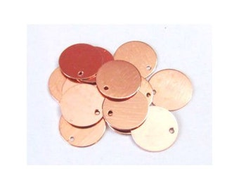 1/2 copper Blanks//22G Blanks//Metal blanks/ Hand Stamping Supplies// Blanks with hole - stamping blanks - initial blanks