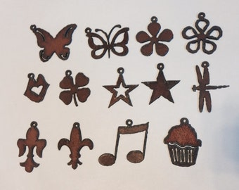 BUTTERFLY STAR FLOWER Fleur Cupcake Charms Pendants Cutouts any 3 made of Rustic Rusty Rusted Recycled Metal