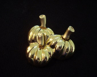 "PUMPKINS Vintage Pin Halloween Autumn Fall Brooch Farm Gold Tone 2"" High Quality #15"