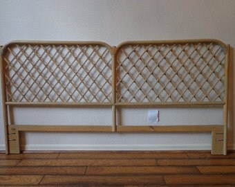 Headboard Vintage Rattan Bed Henry Link King Cal King Beachy Woven Wicker Chinoiserie Boho Chic Bohemian Eclectic Faux Bamboo Bedroom MCM