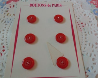 Vintage Red Buttons New On Card From Paris French Vintage