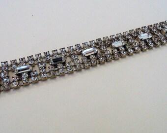 Vintage Rhinestone Bracelet 7.5'' Vintage Rhinestone Jewelry Costume Jewelry