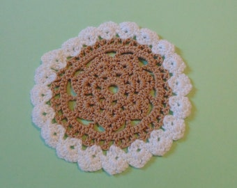 Vintage Crochet Doily Brown And White Vintage Doilies Granny Chic Decor Small Doily