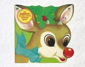 Rudolph Golden Shape Book | The Rudolph the Red Nosed Reindeer Christmas Tale | 1970s Children's Book | 70s Vintage Holiday Santa Kids Book