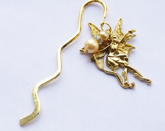 Gold Fairy Bookmark, Gold Pearl Bookmark Gift, Faerie Bookmark, Goddess Bookmark, Book Lover Gift, Reader Stocking Stuffer,Christmas Gift
