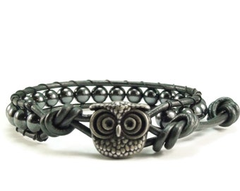 SALE Leather Wrap Bracelet, Hematite Gemstones, Beaded Wrap Bracelet, Owl Bracelet, Leather Bracelet, Black Leather Wrap