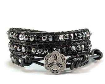 Leather Wrap Bracelet, Beaded Wrap Bracelet, Hematite Gemstones, Black Beaded Bracelet