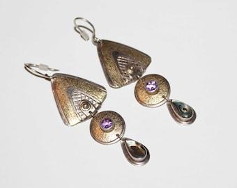 Modernist Sterling Silver Amethyst Abalone Drop Dangle Artisan EARRINGS-For Pierced Ears-Vintage Estate