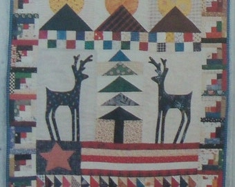 Scrap Quilt Pattern ~ Wall Hanging, Patchwork, Applique ~ Reindeer Moon ~ Flag, Country, Cabin, Lodge, Rustic, Primitive