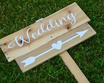 Wedding Directional Sign with Arrow and post Pallet sign  Wedding Decor Rustic wedding wooden wedding signs