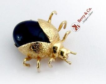 SaLe! sALe! Vintage Small Figural Bug Brooch Pin Lapis 10 K Gold