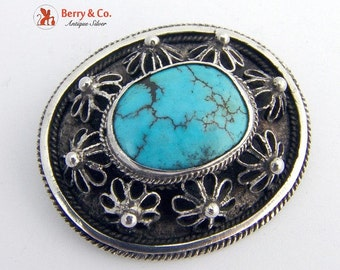 SaLe! sALe! Vintage Filigree and Turquoise Brooch Sterling Silver