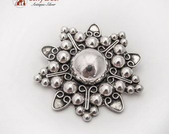 Stylized Floral Brooch Pendant Sterling Silver Mexico 1980
