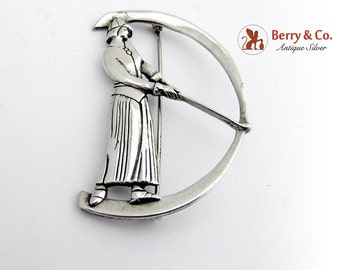 Lady Golfer Brooch Pin Sterling Silver