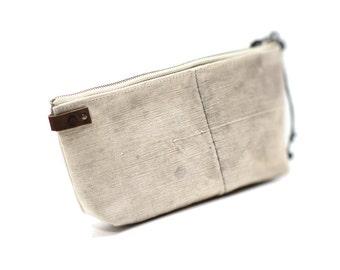 Canvas makeup bag, recycled makeup bag, cosmetic bag, zipper cosmetic bag